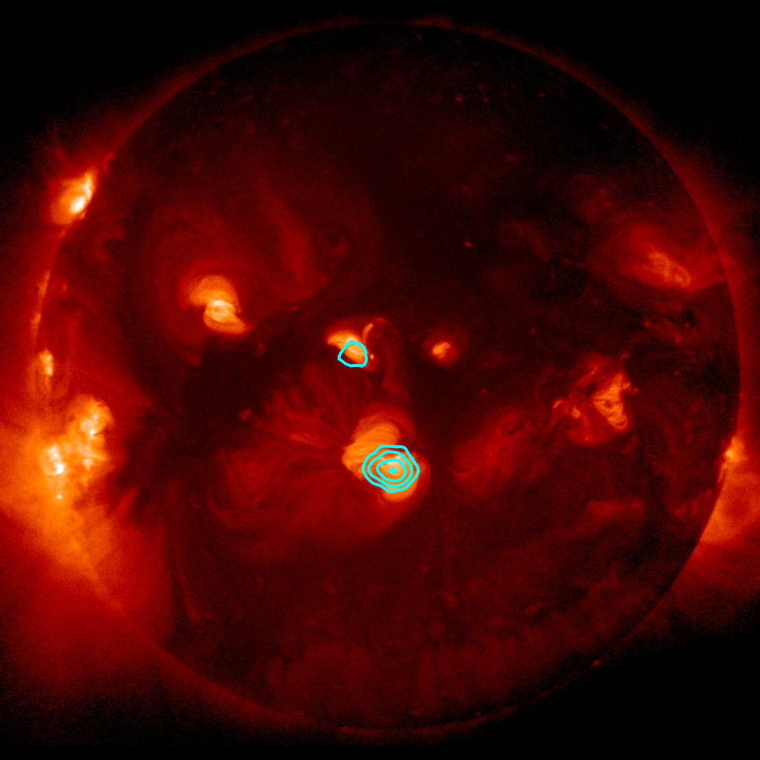 An image from FOXSI's second flight shows several nanoflares taking place on the Sun's surface at one time.