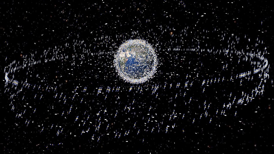 An artist's rendition of the space junk orbiting the Earth right now.