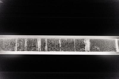 Ice cores from the West Greenland Ice Sheet 'percolation zone' were studied under a light table at Dartmouth's Ice Core Laboratory to reveal ice layers that tell the history of how much melt has occurred through time. / Credit: Robert Gill/Dartmouth College
