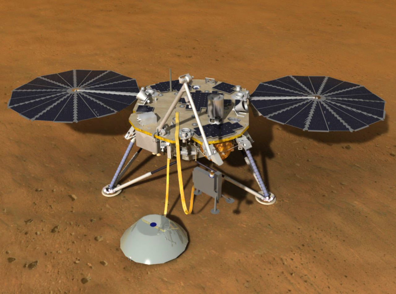 An artist's rendition of the InSight lander.