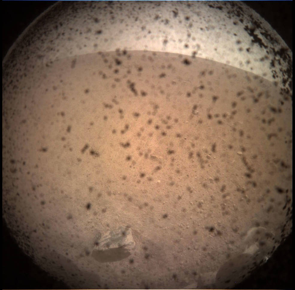 An image of Mars captured with InSight's onboard camera system before landing.