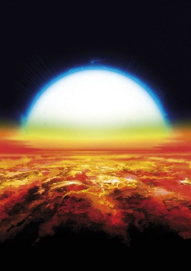 An exoplanet is superheated by its host star.