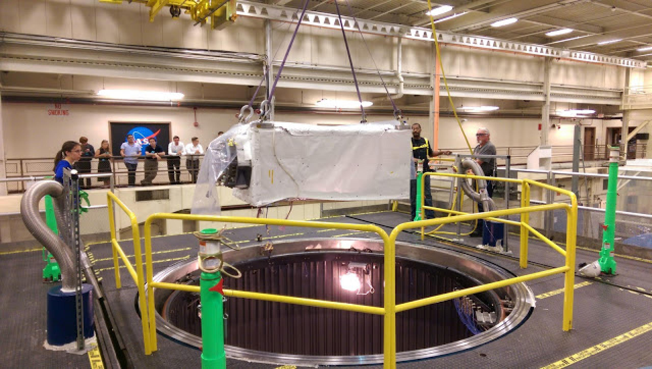 This image shows ISS-CREAM being tested in a space-like environment chamber in 2015.