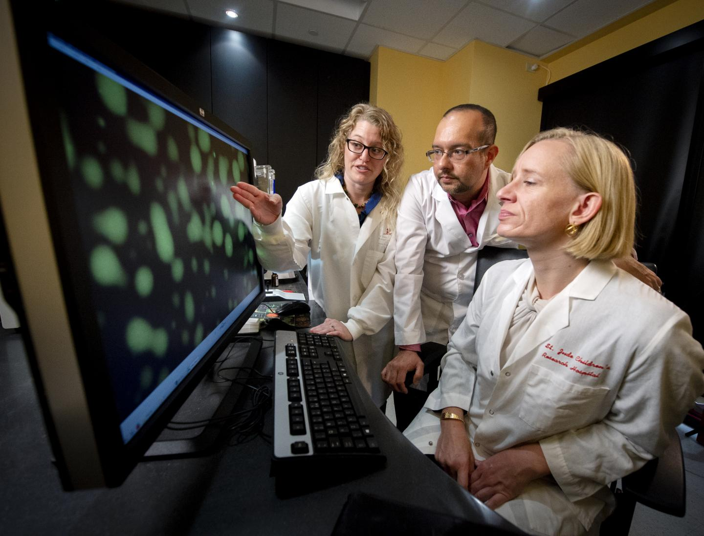 Jill Bouchard, Ph.D., Joel Otero, Ph.D., and Tanja Mittag, Ph.D. were studying SPOP initially to better understand its role in the mechanism of protein degradation, but the investigation became more complicated. / Credit: St. Jude Children's Research Hospital / Ann Margaret Hedges