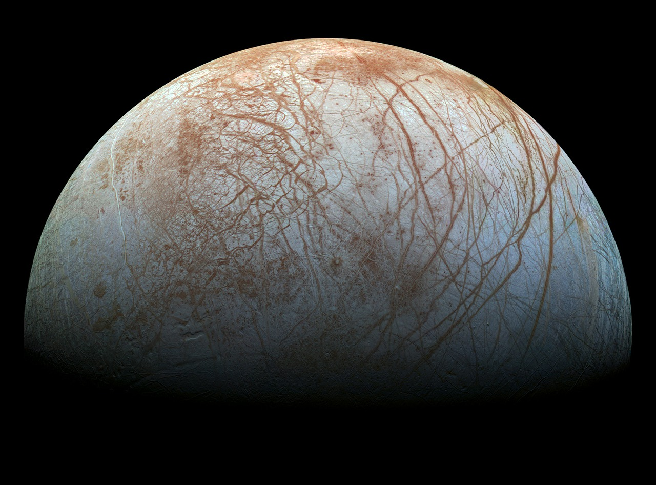 Europa, one of Jupiter's many moons, is pictured above.