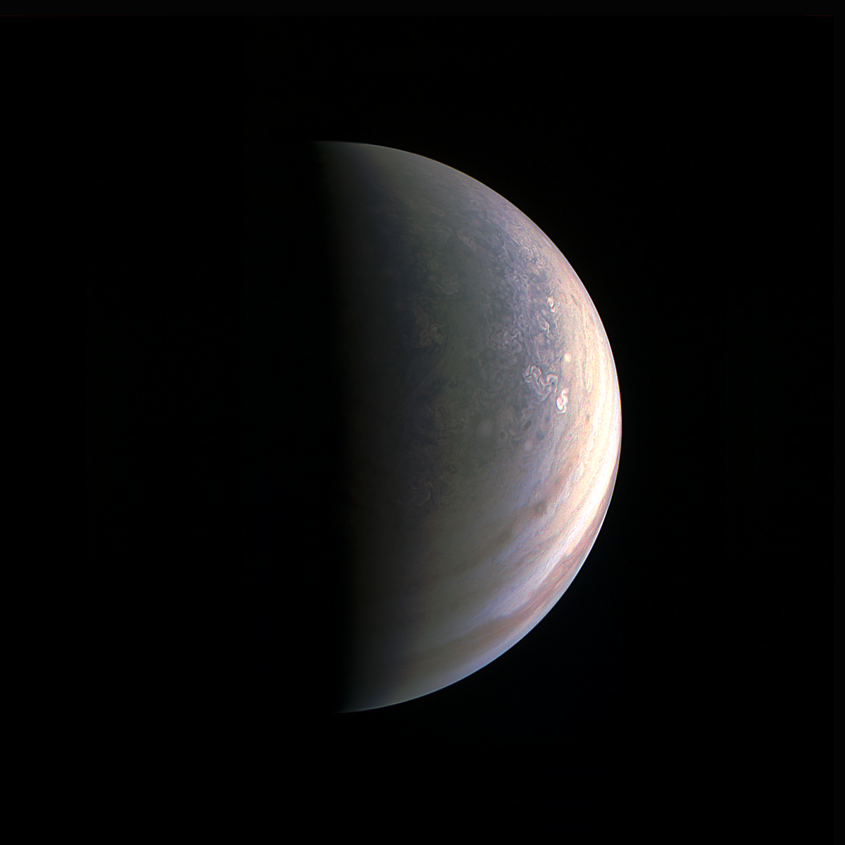 Jupiter's North Pole as photographed from the Juno spacecraft.