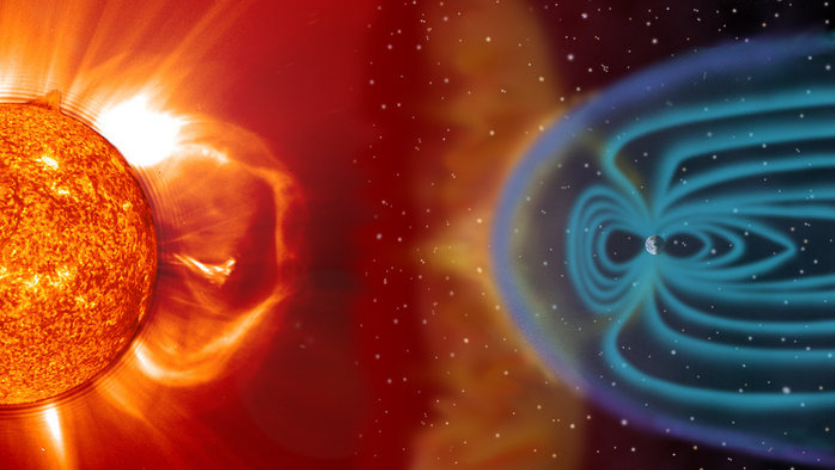 Coronal Mass Ejections from the Sun Striking the Earth's Magnetosphere (ESA)