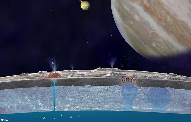 Europa's under-surface liquid ocean may have the Earth-like chemistry needed to support life.