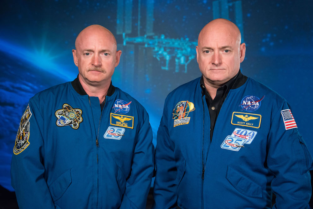 Scott Kelly (prior to his mission) along with his brother, former Astronaut Mark Kelly at the Johnson Space Center, Houston Texas on Jan.19, 2015. / Credit: NASA/Robert Markowitz
