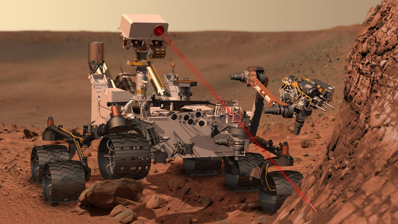 An artist's impression of the Curiosity rover as it uses its onboard laser system to observe the chemical composition of rocks.