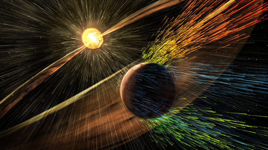 An artist's rendition of the Sun stripping away Mars' atmosphere.