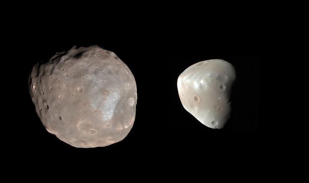 Mars' two moons, Deimos and Phobos in perspective of one another.