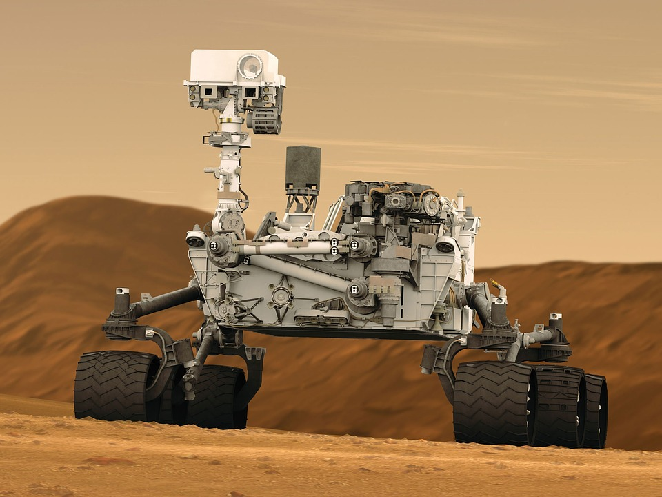 An artist's impression of NASA's Curiosity rover on the Martian surface.