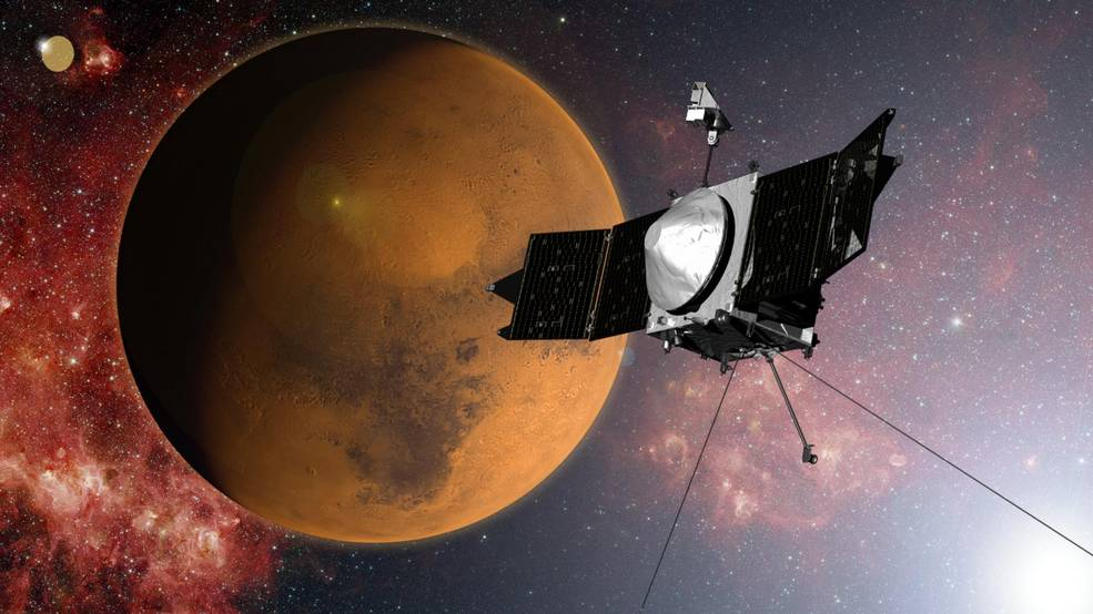 An artist's impression of the MAVEN spacecraft.