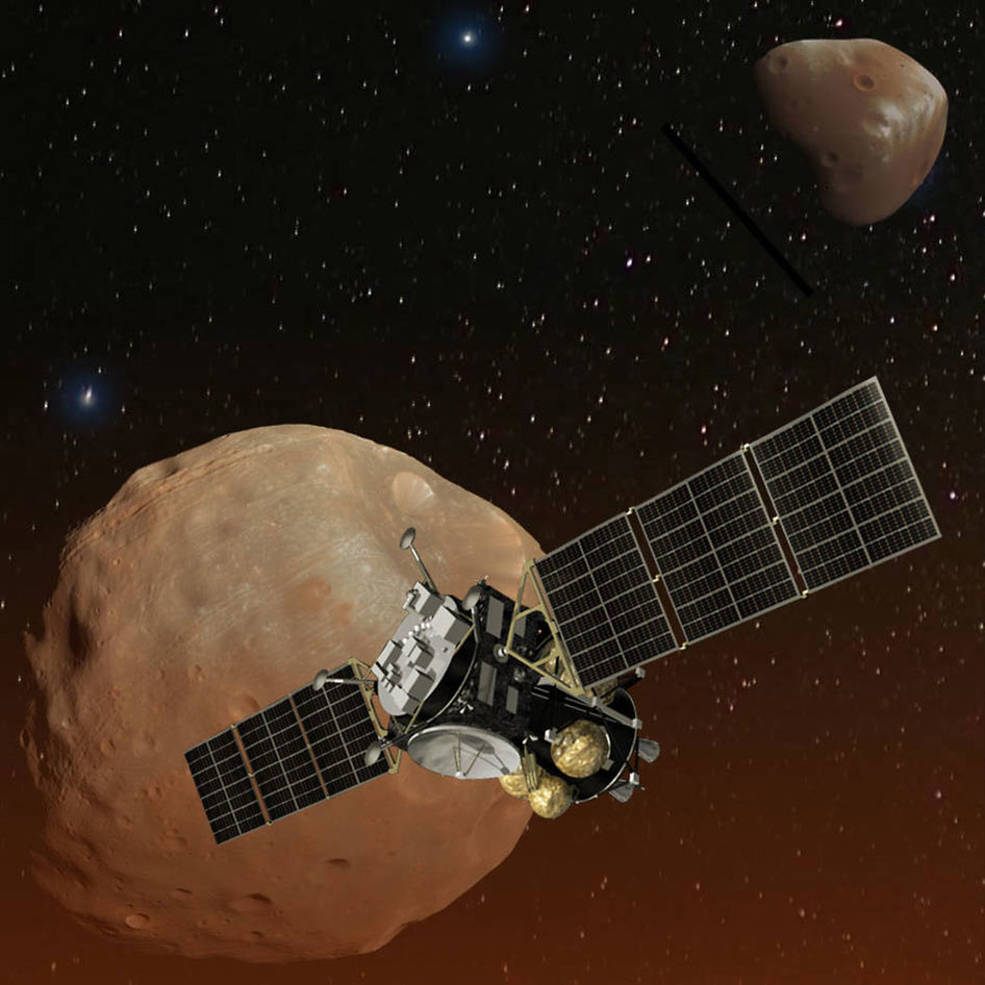 An artist's impression of the MMX spacecraft.