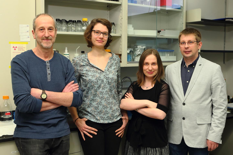 These are UIC's (left to right) Alexander Mankin, Tanja Florin, Malgorzata Dobosz-Bartoszek, Yury Polikanov. / Credit: UIC/Jenny Fontaine