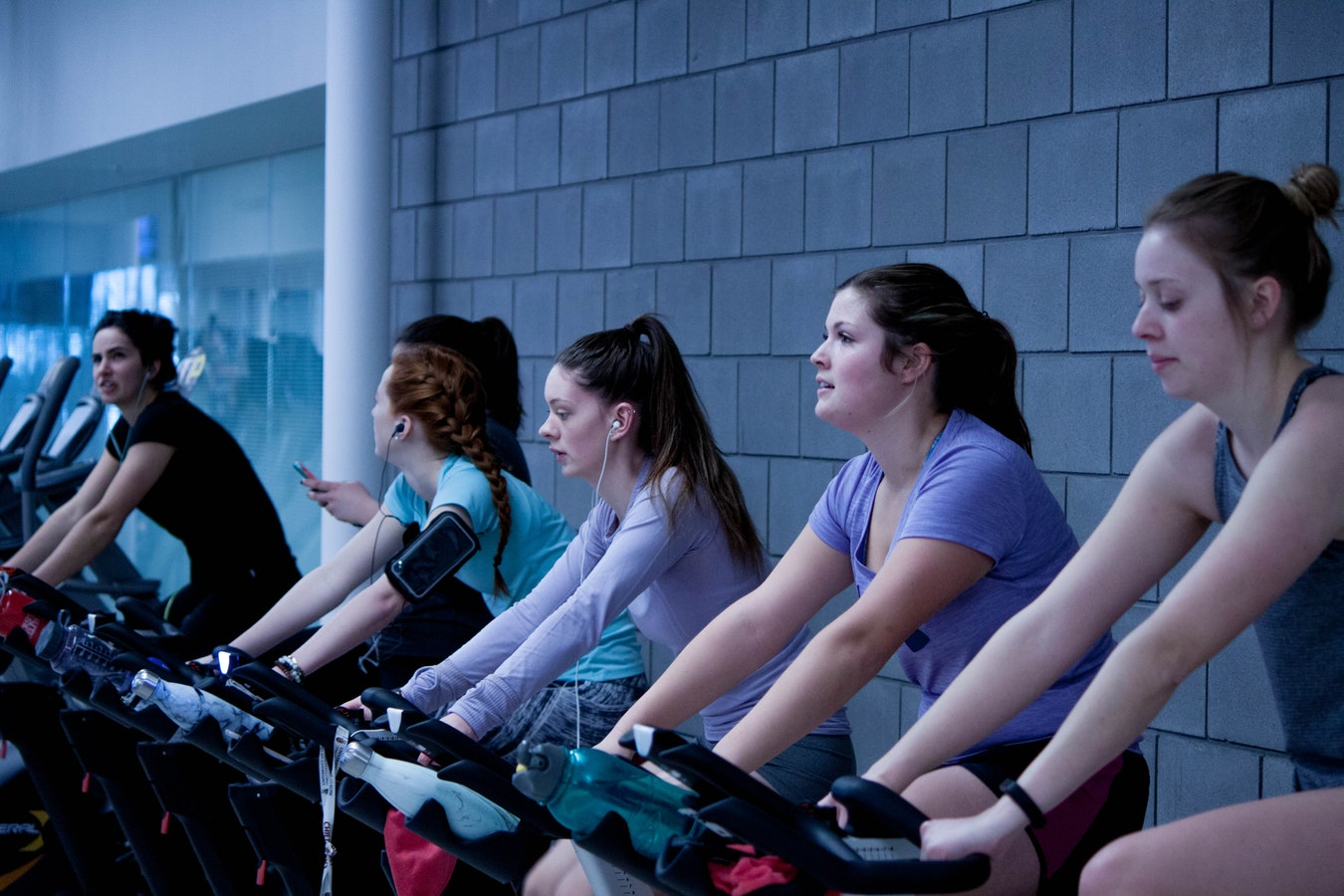 Women exercising, public domain