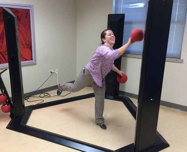 Masters student Brittany Jenkins takes on the Makoto Arena