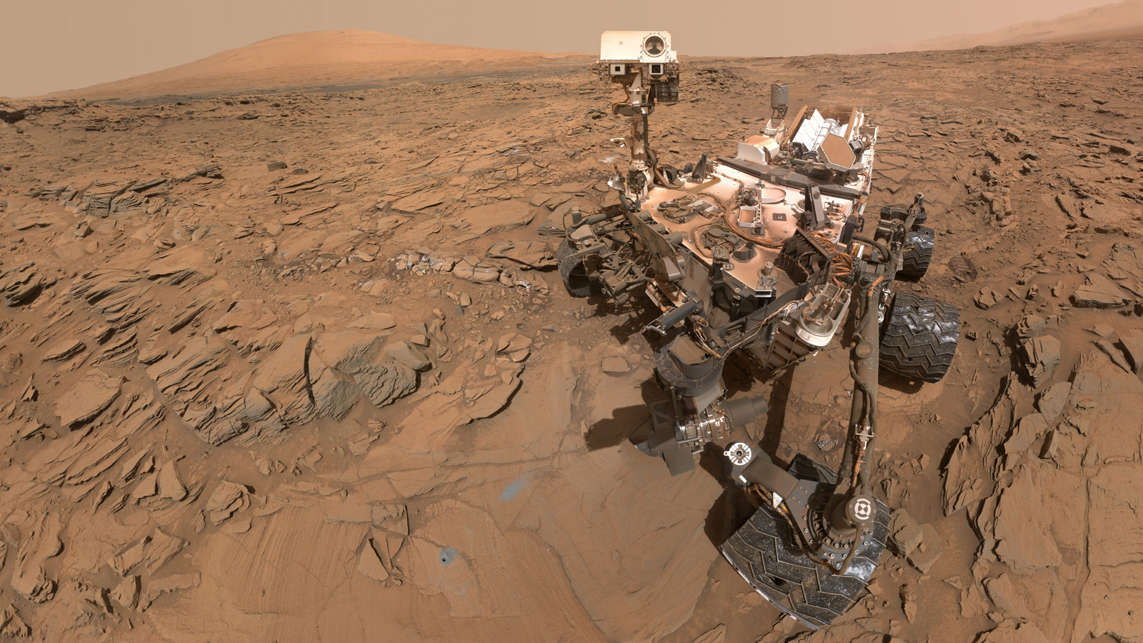 The Mars Curiosity Rover took this selfie in May of this year, at a drilling site on the red planet.