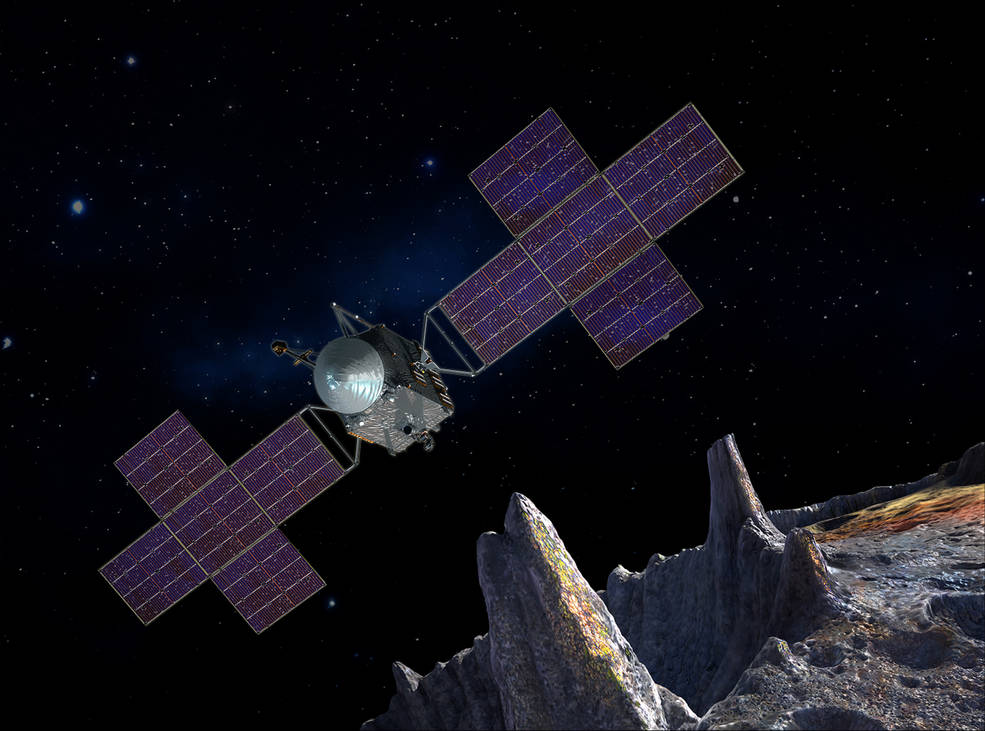 An artist's impression of Psyche and the spacecraft that will visit it.
