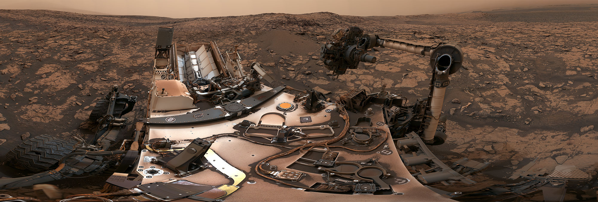 The 360º panorama captured by the Curiosity rover after drilling at Vera Rubin Ridge.