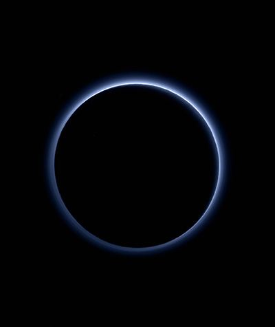 Here we see Pluto's hazy atmosphere, as pictured from New Horizons in 2015.