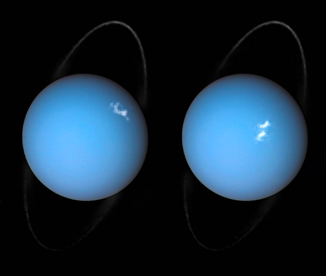New composite images shared by NASA show auroras occuring on Uranus' surface.