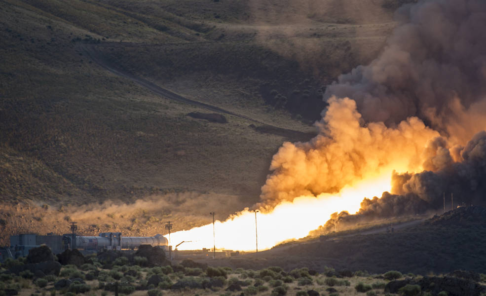NASA's SLS booster test-fires in Utah on Tuesday.
