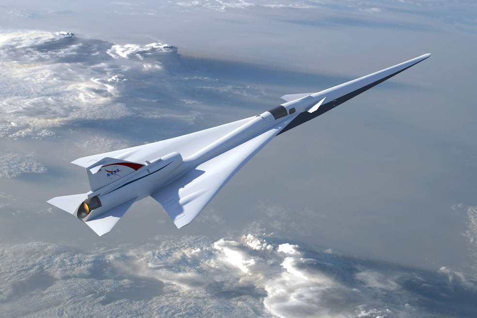 An artist's rendering of the low-boom supersonic aircraft flying through the air.