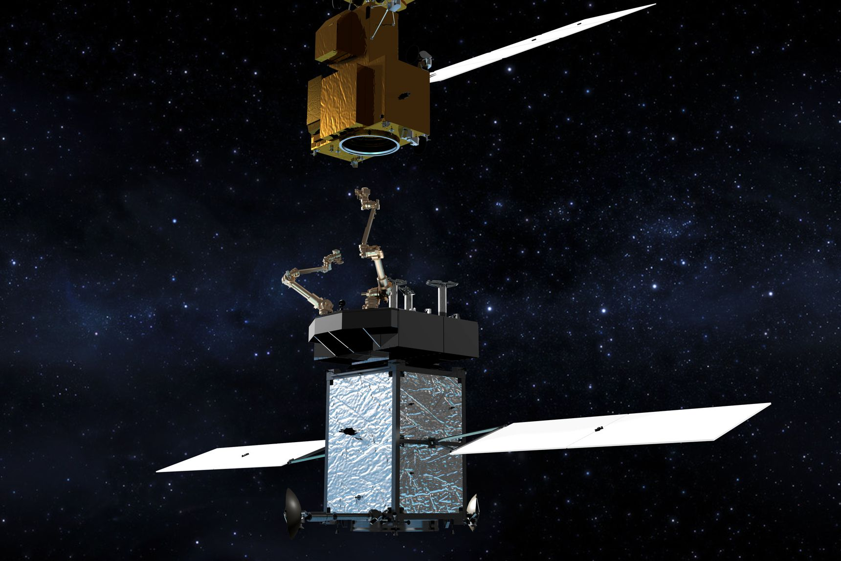 An artist's impression of the Restore L spacecraft that could refuel and service Earth-orbiting satellites in the future.