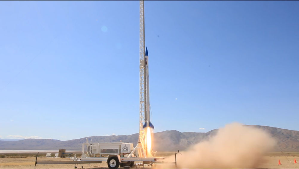 A rocket with an engine mode completely out of 3D-printed parts made it an estimated 4,000 feet in the air.