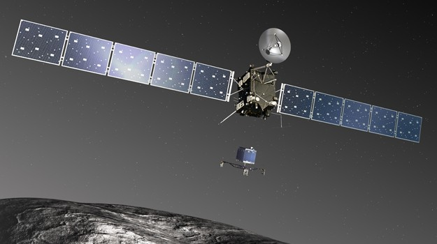 An artist's impression of the Rosetta spacecraft dropping off the Philae lander on comet 67P.