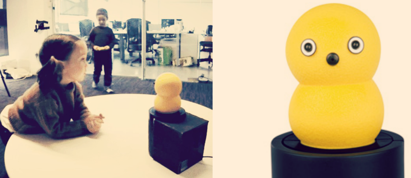 Kids in room with Keepon, Keepon image, credit: study authors (cited at bottom of article), BeatBots