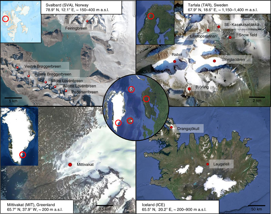 Sample locations used in the study are pictured in this image from Nature Communications