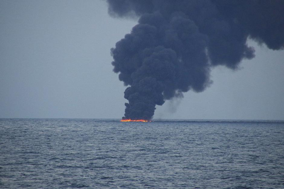 The tanker, burning on the sea. Photo: Reuters
