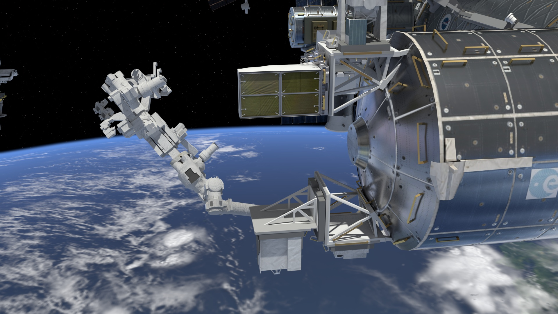 An artist's impression of the International Space Station's new space debris-monitoring sensor.