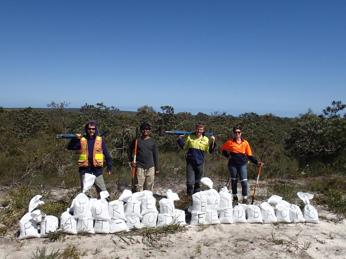 The end of a long day of soil sampling in the Jurien Bay shrublands. CREDIT Francois Teste