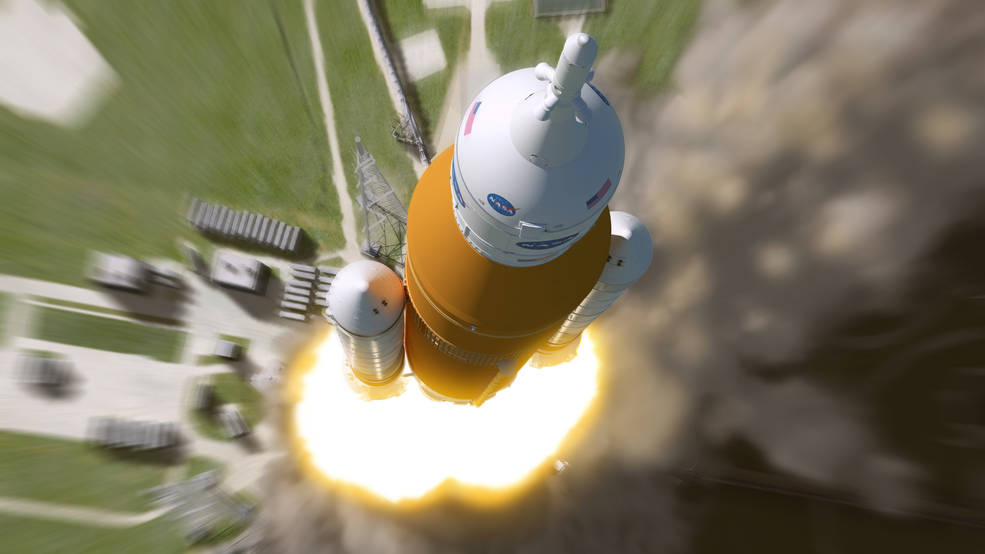 An artist's birds-eye-view impression of the SLS rocket launching from the ground.