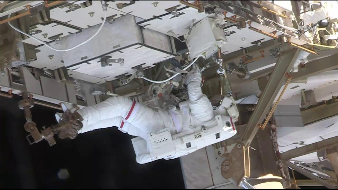Nick Hague making upgrades to the International Space station during Friday's spacewalk.