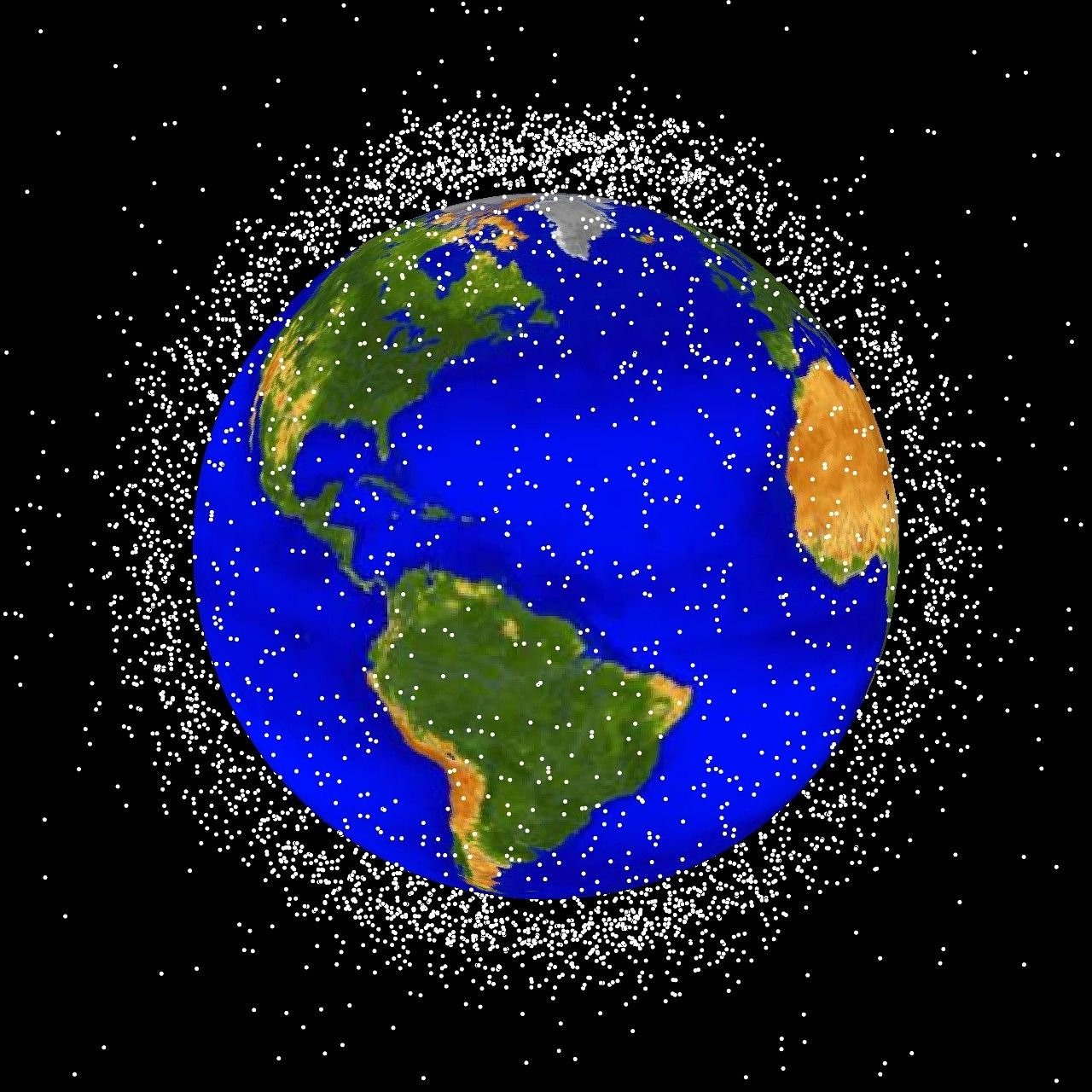 An artist's impression of all the space junk orbiting Earth (not drawn to scale).