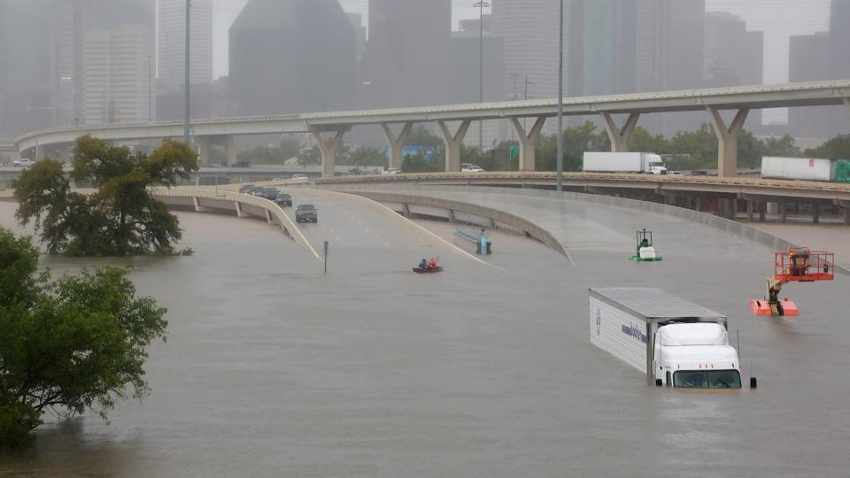 Interstate highway 45 flooded in Houston from Hurricane Harvey. Photo: Reuters