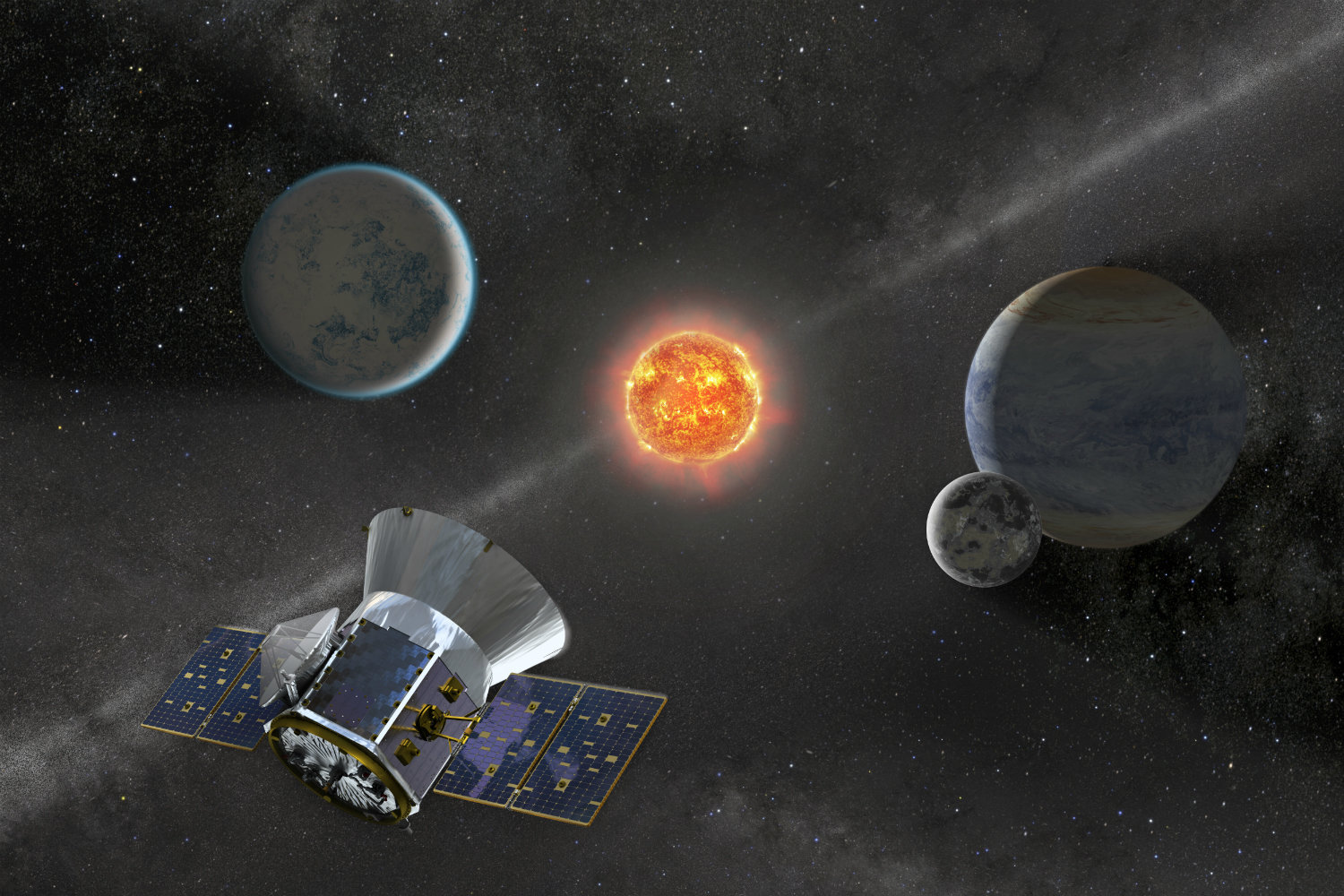 An artist's impression of the TESS spacecraft in space.