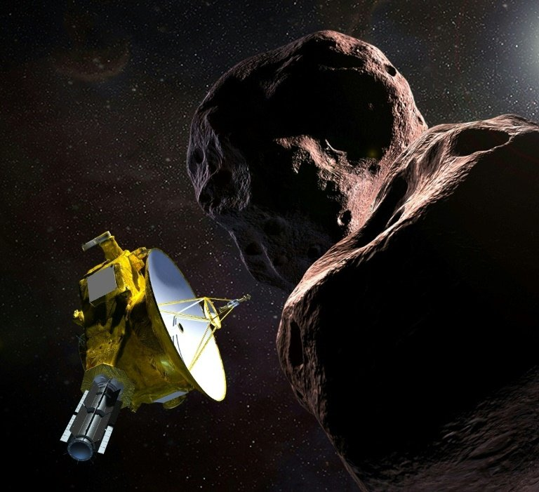 An artist's impression depicting the New Horizons spacecraft as it passed Ultima Thule.