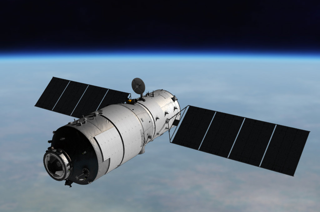 An artist's rendition of the Tiangong-1 space lab.