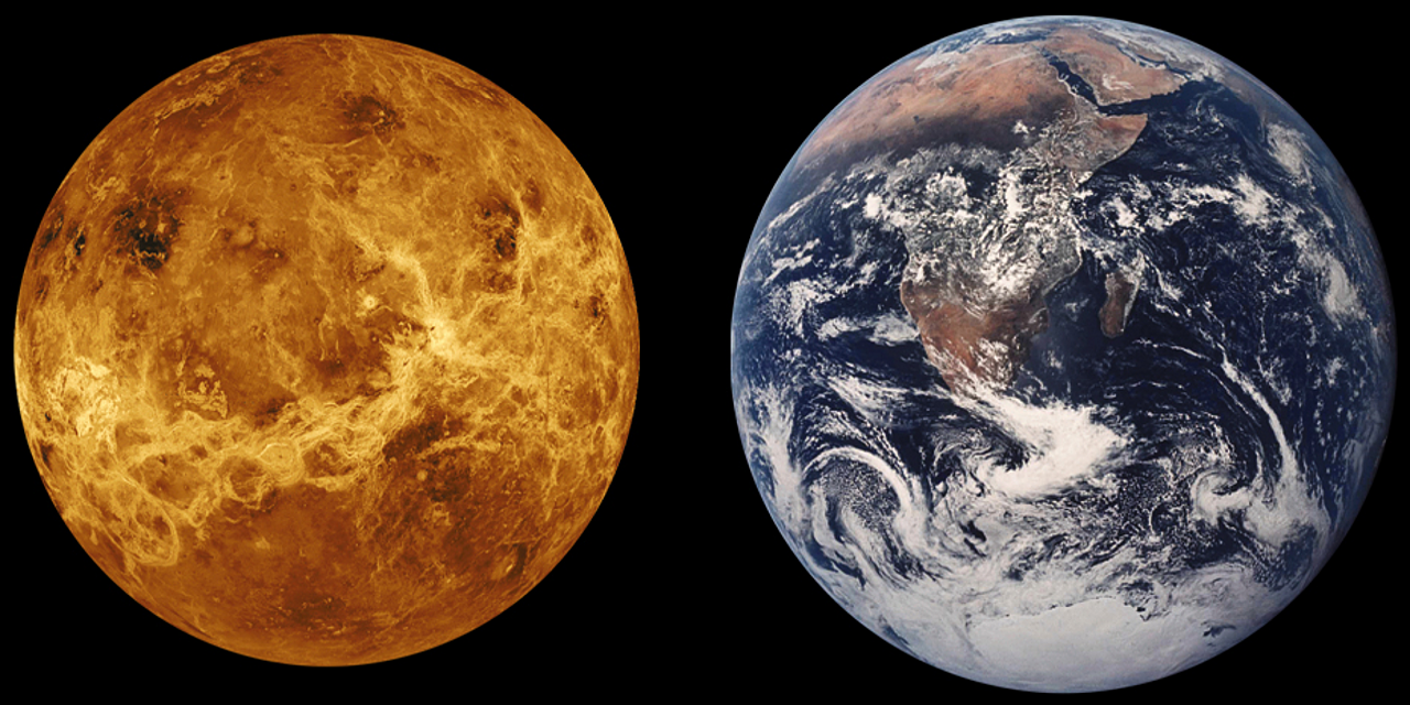 A picture of Venus compared with a picture of Earth.