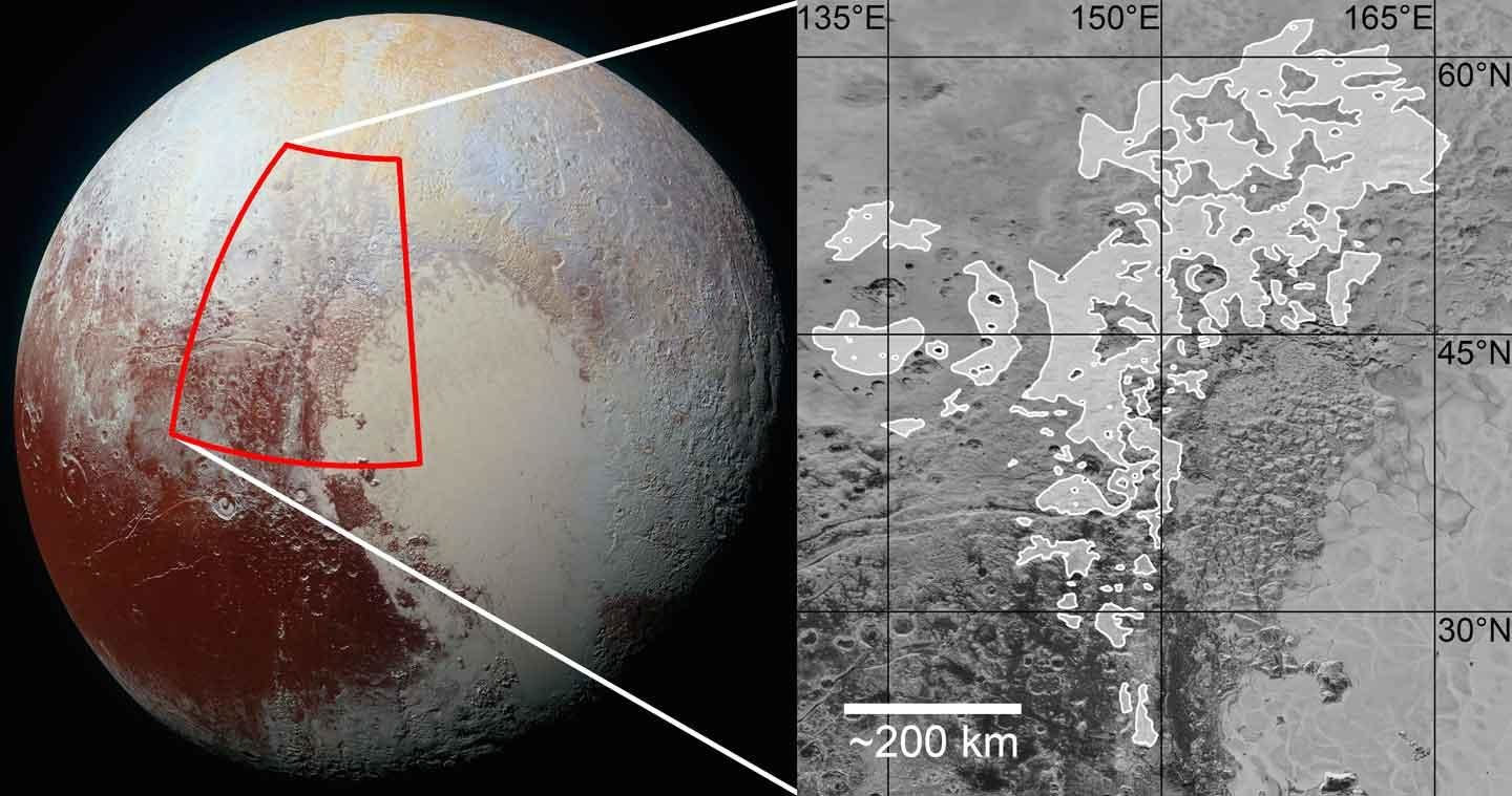 This is where the evidence for ancient glaciation appears on Pluto's surface.