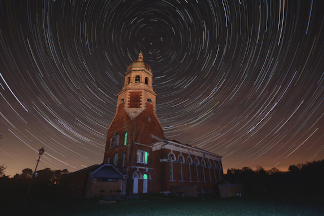 UK photographer Connor Hicks took this beautiful image of star trails with Netley Hospital in the foreground.