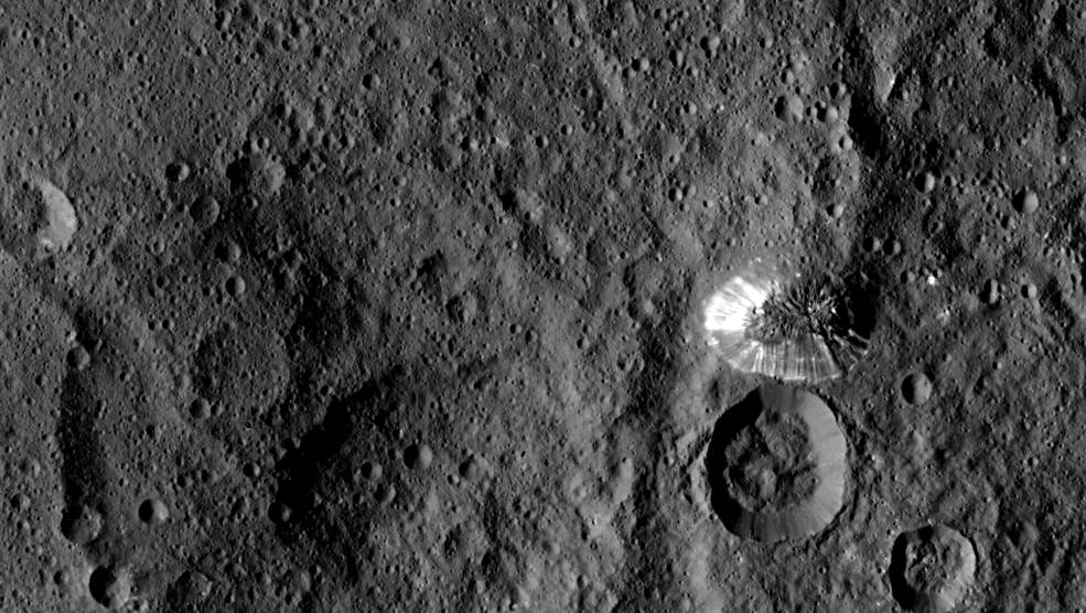 NASA's Dawn spacecraft sent back this picture of Ceres' surface with the conical mountain NASA is interested in.