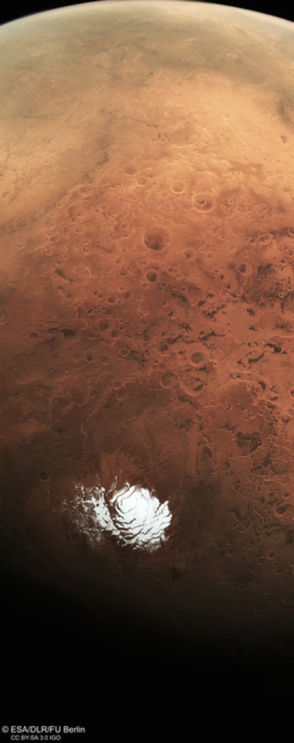 The Mars Express spacecraft took this panoramic photograph of the Martian South Pole.