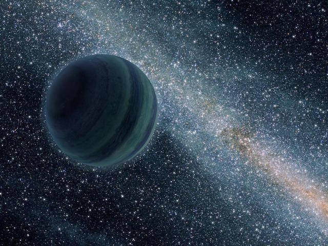 An artist's conception of a Jupiter-sized rogue planet